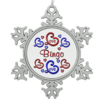 LOVE LOVE Bingo Snowflake Pewter Christmas Ornament