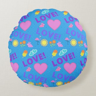 Love-Love Blue Green Reversible Pillow