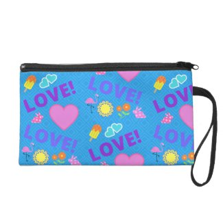 Love-Love Blue Heart Rabbit Flamingo Wristlet