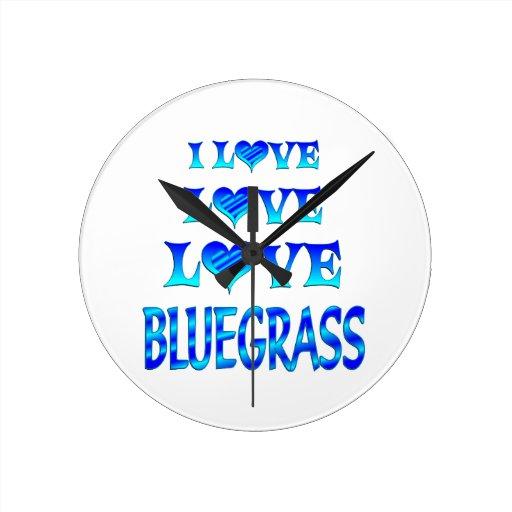 Love Love Bluegrass Round Clocks