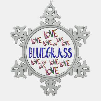 Love Love Bluegrass Snowflake Pewter Christmas Ornament