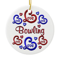 LOVE LOVE Bowling Ceramic Ornament