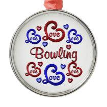 LOVE LOVE Bowling Metal Ornament