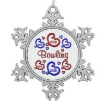 LOVE LOVE Bowling Snowflake Pewter Christmas Ornament