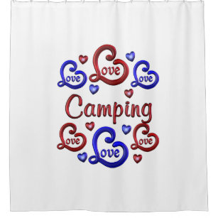 LOVE Camping Shower Curtain