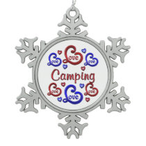 LOVE LOVE Camping Snowflake Pewter Christmas Ornament
