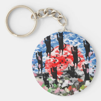 Love love cat and Matsuyama castle Keychain