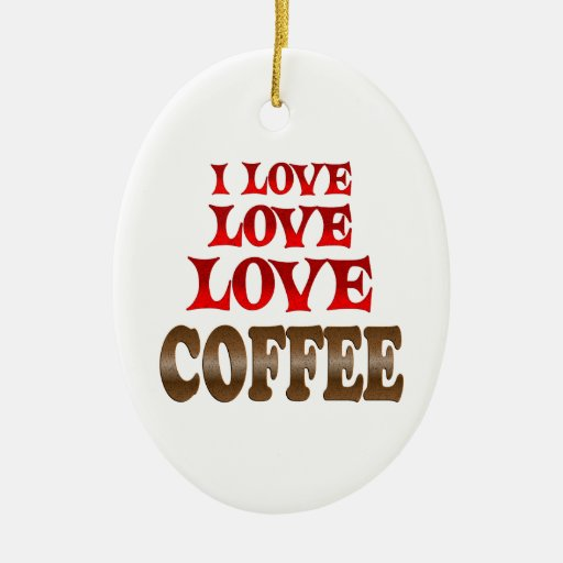 Love Love Coffee Double-Sided Oval Ceramic Christmas Ornament