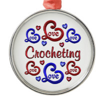 LOVE LOVE Crocheting Metal Ornament