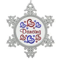 LOVE LOVE Dancing Snowflake Pewter Christmas Ornament