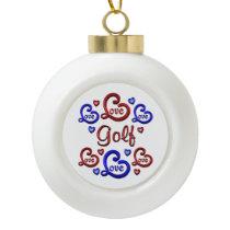 LOVE LOVE Golf Ceramic Ball Christmas Ornament