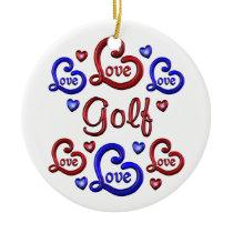 LOVE LOVE Golf Ceramic Ornament