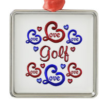LOVE LOVE Golf Metal Ornament