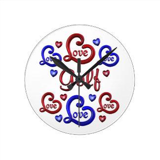 LOVE LOVE Golf Round Clock
