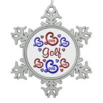 LOVE LOVE Golf Snowflake Pewter Christmas Ornament