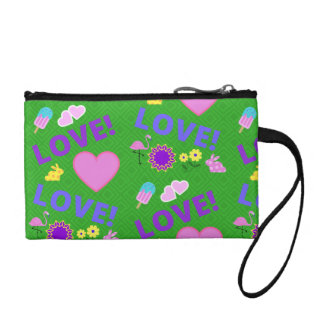Love-Love Green Hearts Flamingo Key Coin Clutch