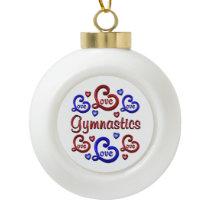 LOVE LOVE Gymnastics Ceramic Ball Christmas Ornament