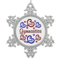 LOVE LOVE Gymnastics Snowflake Pewter Christmas Ornament