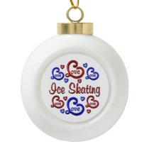 LOVE LOVE Ice Skating Ceramic Ball Christmas Ornament