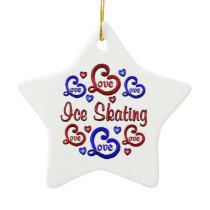 LOVE LOVE Ice Skating Ceramic Ornament