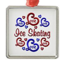LOVE LOVE Ice Skating Metal Ornament