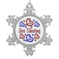 LOVE LOVE Ice Skating Snowflake Pewter Christmas Ornament