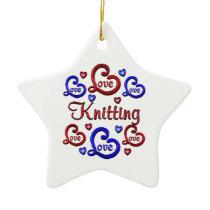 LOVE LOVE Knitting Ceramic Ornament
