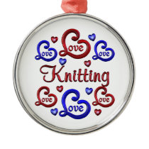 LOVE LOVE Knitting Metal Ornament