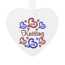 LOVE LOVE Knitting Ornament
