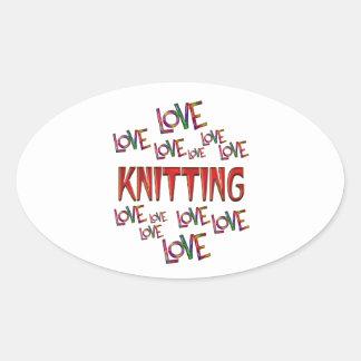 Love Love Knitting Oval Sticker
