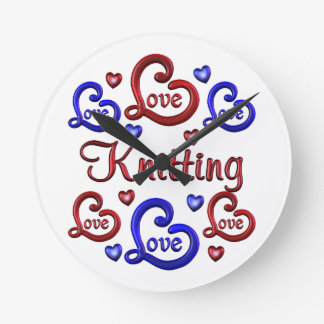 LOVE LOVE Knitting Round Clock