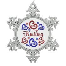 LOVE LOVE Knitting Snowflake Pewter Christmas Ornament