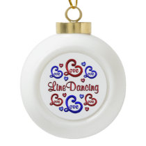 LOVE LOVE Line Dancing Ceramic Ball Christmas Ornament