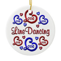 LOVE LOVE Line Dancing Ceramic Ornament