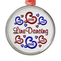 LOVE LOVE Line Dancing Metal Ornament