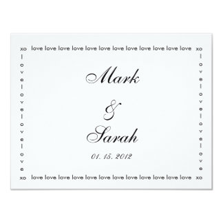 Love Love Love Black & White RSVP 4.25x5.5 Paper Invitation Card