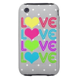 LOVE LOVE LOVE in Rainbow & Pearl Gray Polka-dots iPhone 3 Tough Covers