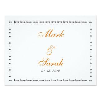Love Love Love Orange 2 RSVP 4.25x5.5 Paper Invitation Card