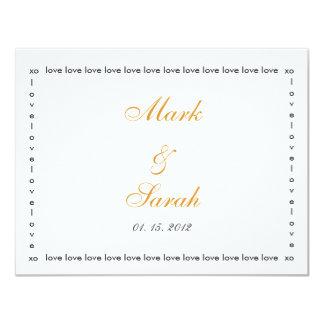 Love Love Love Orange RSVP 4.25x5.5 Paper Invitation Card