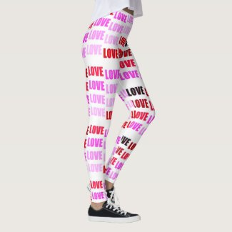 Love, Love, Love Pink on White by EelKat Leggings