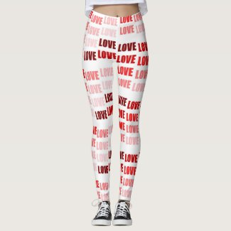 Love, Love, Love Red on White by EelKat Leggings