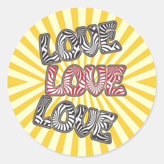 Love Love Love Round Sticker
