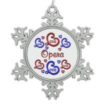 LOVE LOVE Opera Snowflake Pewter Christmas Ornament