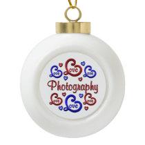 LOVE LOVE Photography Ceramic Ball Christmas Ornament