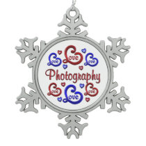 LOVE LOVE Photography Snowflake Pewter Christmas Ornament