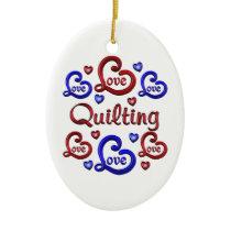 LOVE LOVE Quilting Ceramic Ornament