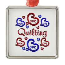 LOVE LOVE Quilting Metal Ornament