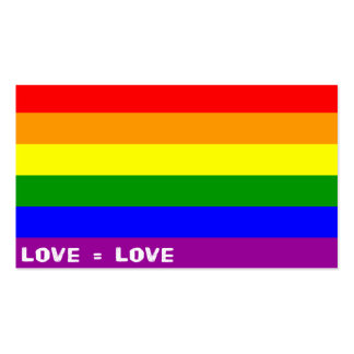 "Love = Love Rainbow 3.5"" x 2.0"", 100 pack, White Business Card"