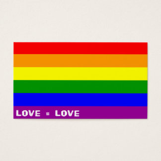 "Love = Love Rainbow 3.5"" x 2.0"", 100 pack, White Business Card"
