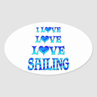 Love Love Sailing Oval Sticker